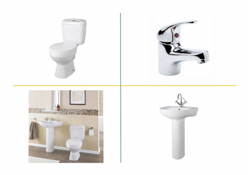Essentials 4 Piece Toilet & Basin Bathroom Suite - 1 Tap Hole